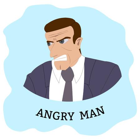 Personaggio dei cartoni animati. Uomo arrabbiato in giacca e cravatta. Illustrazione di vettore.