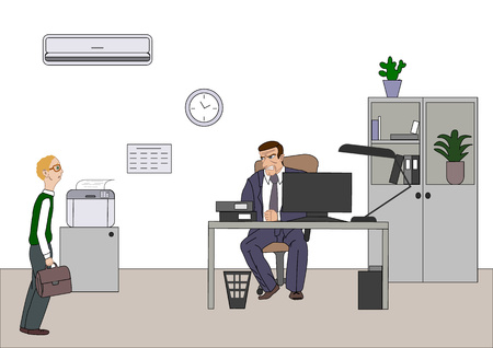 Angry boss with employee. Director worries about poor results and and point at diagram at flipchart in the office. Work space with computer. desk, printer for backgriund. Vector illustration
