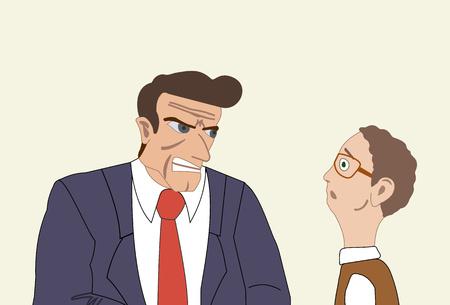 Zły biznesmen atakuje swojego kolegę. Mobbing, zastraszanie w miejscu pracy Ilustracja wektorowa. Ilustracje wektorowe