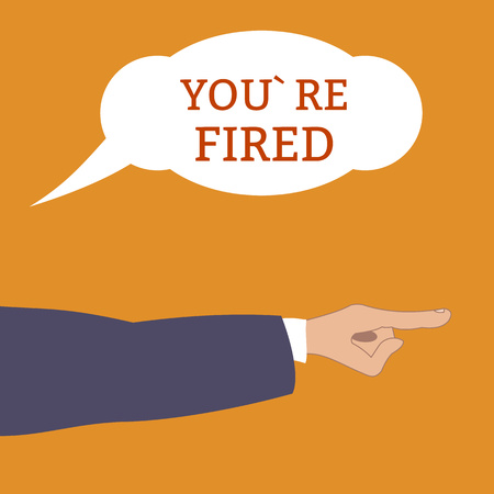 Angry boss shouts : Youre fired and points by hand at away Employee gets fired. dismissed from his work. Flat style, vector illustration