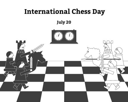 International chess day. Vector illustration of chess, chess clock.