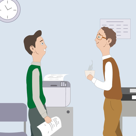Two best friends, collegue tell about something, gossip, laughing at workplace. Office room with desk,chair, clock.Vector illustration.