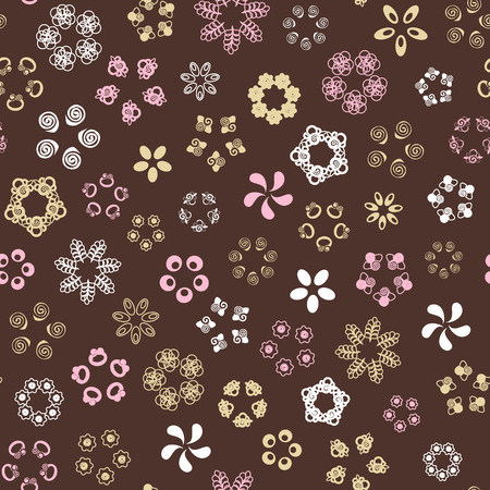 Brown seamless pattern with gold, white, rose flowers. Vector illustration.