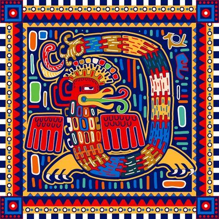 アステカのシームレスなパターン。民族のカラフルな装飾的な backgroubd