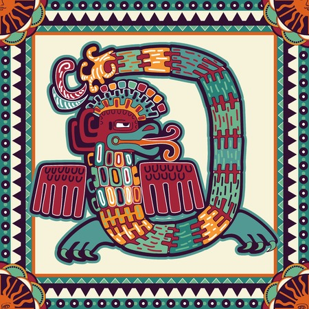 quetzalcoatl: Seamless aztec pattern. Ethnic colorful ornamental backgroubd