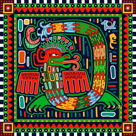 toltec: Seamless aztec pattern. Ethnic colorful ornamental background