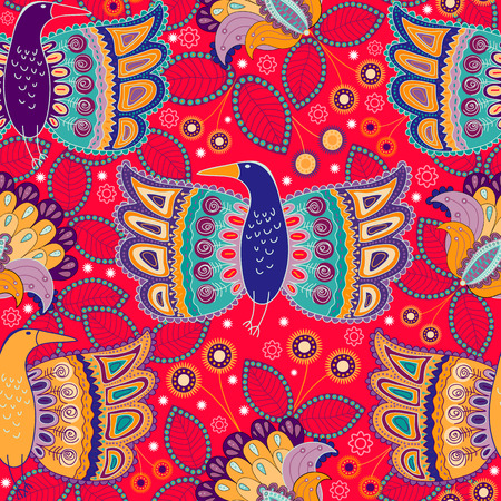 Seamless ornamental pattern. Ethnic ornament background with birds Illusztráció