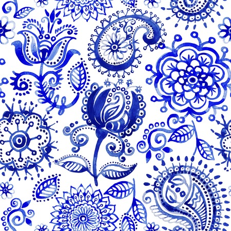 Watercolor pattern in Paisley style Vector
