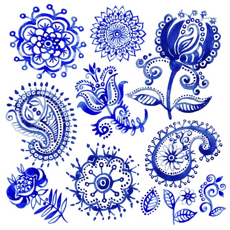 Set of watercolor pattern in Paisley style