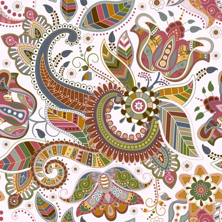 Seamless floral pattern in ethnic style
