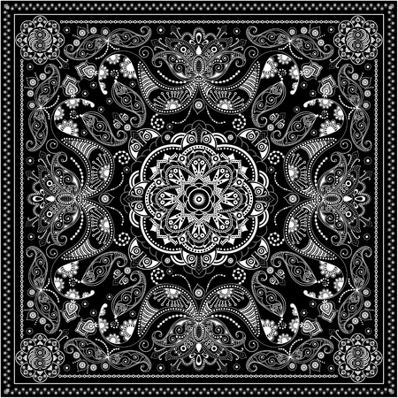 bandanna: Black and white ornamental square with paisley elements
