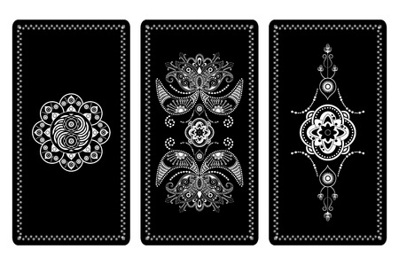 Vector illustration design for Tarot cards. White and black ornament