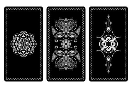 Vector illustration design for Tarot cards. White and black ornament