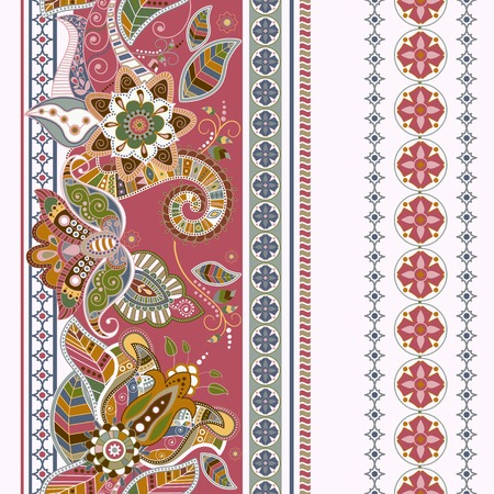 스트라이프 원활한 민족 패턴입니다. 페이즐리 무늬 장식 벽지 일러스트