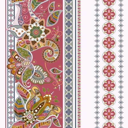 indische muster: Gestreifte nahtlose ethnische Muster. Paisley Ornament-Tapeten,