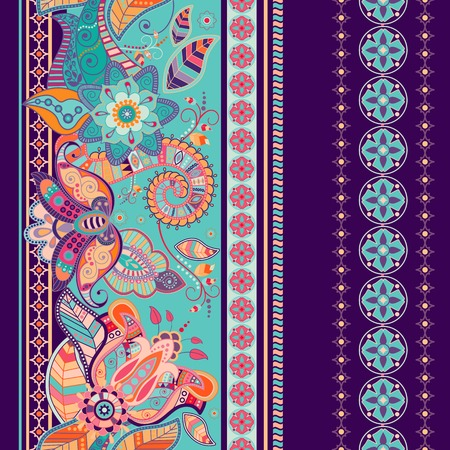 seamless floral pattern: Striped seamless ethnic pattern. Paisley ornamental wallpaper