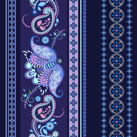 Striped seamless ethnic pattern. Paisley ornamental wallpaper