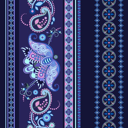 india pattern: Striped seamless ethnic pattern. Paisley ornamental wallpaper