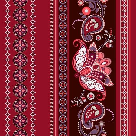 disegni cachemire: Striped modello etnico senza soluzione di continuit�. Paisley wallpaper ornamentali