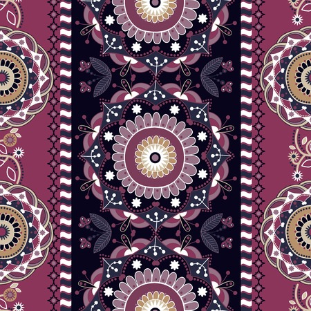 Striped seamless ornamental patter. Floral ethnic background