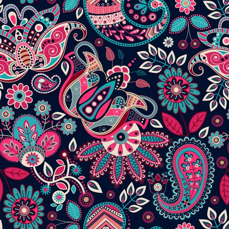 seamless pattern floral: Paisley seamless pattern. Floral background in ethnic style
