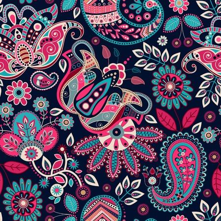 batik: Seamless pattern Paisley. Floral background dans un style ethnique Illustration