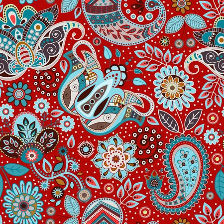 indonesian: Paisley seamless pattern. Floral background in ethnic style