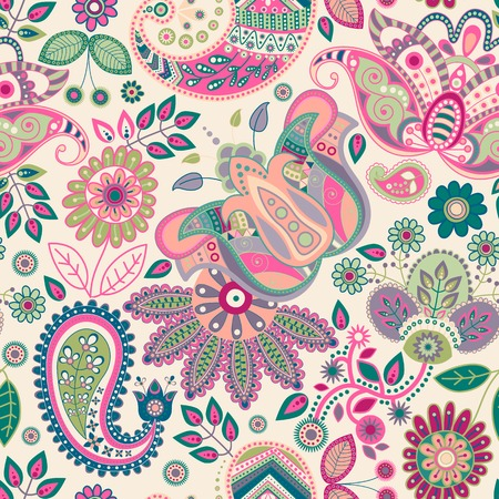 hippies: Paisley floral seamless pattern