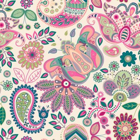 batik: Paisley seamless floral Illustration