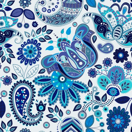 disegni cachemire: Paisley floral seamless pattern