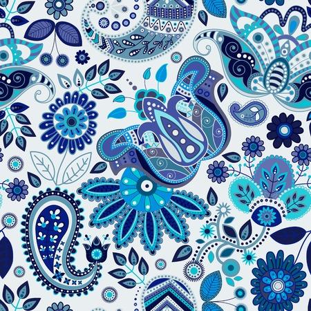 batik: Paisley floral seamless pattern