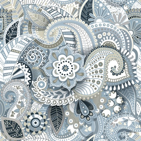 Paisley seamless pattern with shadow effect. Floral wallpaper