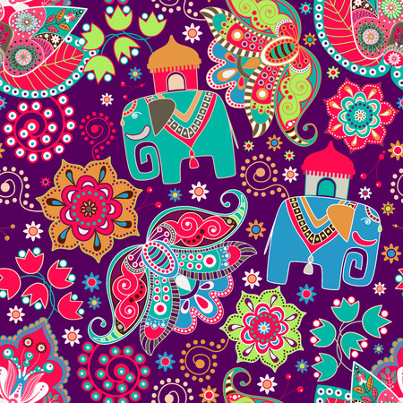 Floral seamless pattern with decorative flowers and elephants