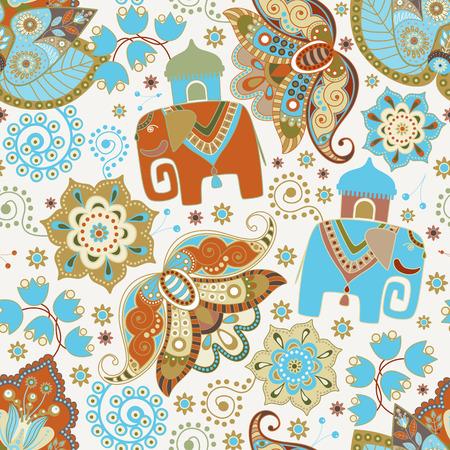 elefant: Nahtloses Muster mit dekorativen Blumen und Elefanten Illustration