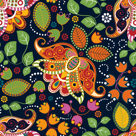 indian summer: Floral seamless pattern. Summer flowers wallpaper, background