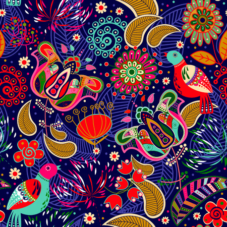 Floral seamless pattern with birds. Flowers background