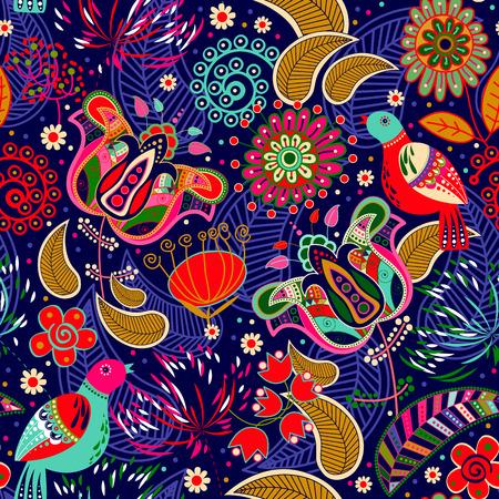 flowers background: Modelo incons�til floral con los p�jaros. Florece el fondo