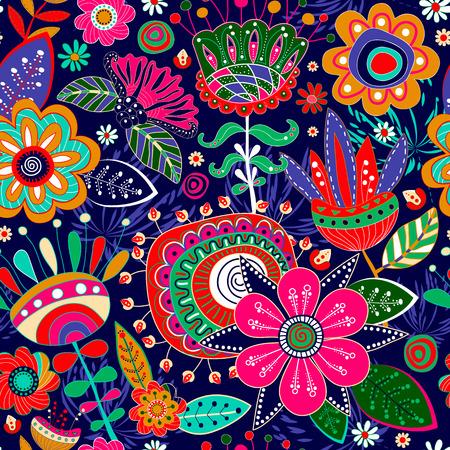 textile design: Floral seamless pattern. Fantasic flowers vector background