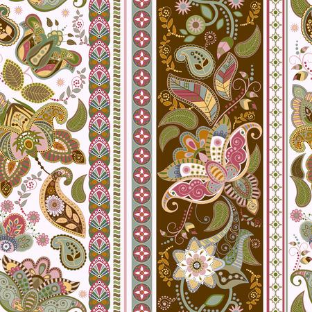 花のシームレスなパターン。ストライプの装飾用シームレスな壁紙  イラスト・ベクター素材