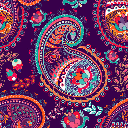 Paisley colorful seamless pattern. Colorful ethnic background Illustration