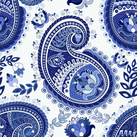 Paisley colorful seamless pattern. Colorful ethnic background Ilustração