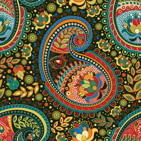 Paisley colorful seamless pattern. Colorful ethnic background  イラスト・ベクター素材