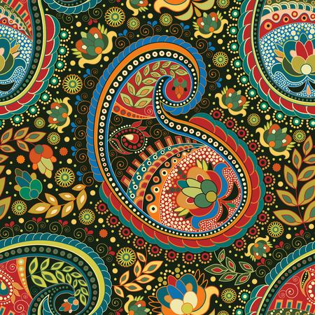 Paisley colorful seamless pattern. Colorful ethnic background Çizim