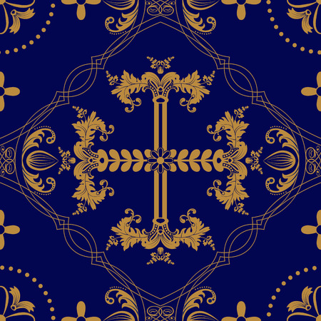 orthodoxy: Classic orthodox seamless pattern. Classic orthodox background with decorative elements