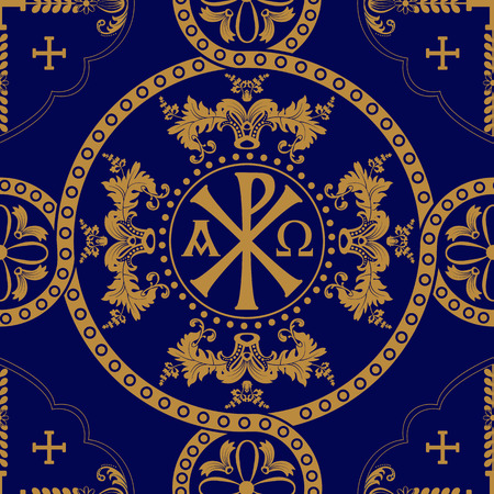 Classic orthodox seamless pattern. Classic orthodox background with decorative elements