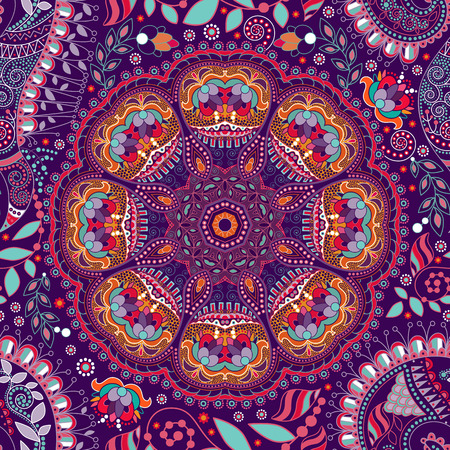 Floral seamless pattern. Colorful ornamental ethnic background
