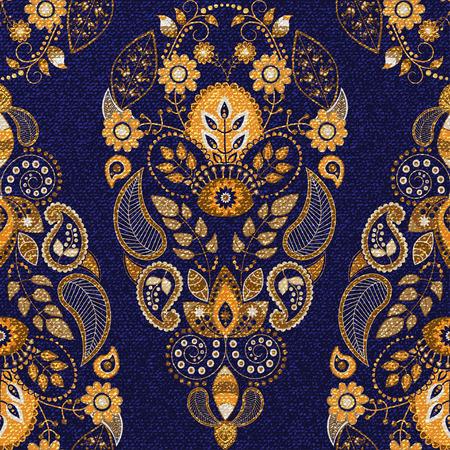 batik: Floral seamless pattern or et bleu, papier peint ornemental