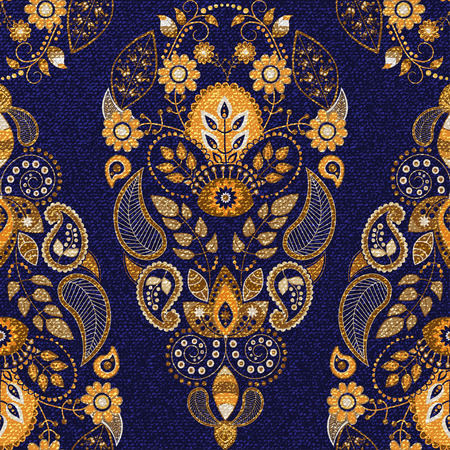 de vaqueros: Modelo inconsútil floral de oro y azul, papel pintado ornamental Vectores