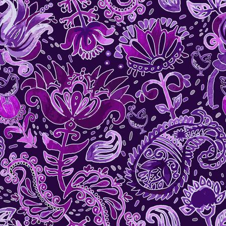Vector watercolor seamless pattern. Paisley wallpaper