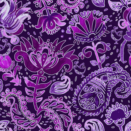 indian teenager: Vector watercolor seamless pattern. Paisley wallpaper